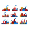 Industrial buildings flat icons vector image vector image