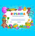 kids diploma kindergarten certificate template vector image vector image