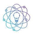 light bulb and atom around in color gradient vector image vector image