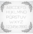 Linear alphabet set vector image vector image