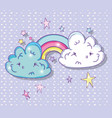 rainbow with kawaii fluffy clouds and stars vector image vector image