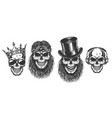 rock and roll skull set vector image vector image