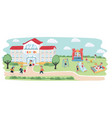 school building and playground vector image