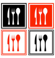 set icons with kitchen ware vector image