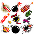 set of comic style bombs dynamite grenade design vector image