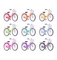 set of female bicycles in different colors vector image