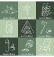 Set of hand drawn camping equipment drawings vector image vector image