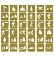 set of hiking tourists icon vector image