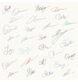 Set of unique hanwritten signatures vector image