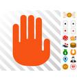 stop hand icon with bonus vector image vector image