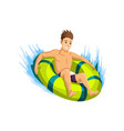 summer beach activities guy comes down slide vector image