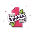 The Winner Leaf Number One Thin Line vector image