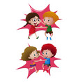 two pair of kids dancing vector image