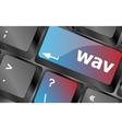 wav word on keyboard keys button keyboard vector image