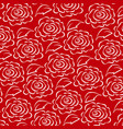 white rose line pattern on red background vector image vector image