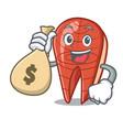 with money bag fish slice character cartoon vector image