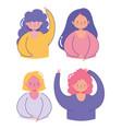 young women character female portrait cartoon set vector image vector image