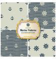 4 different marine seamless patterns vector image vector image