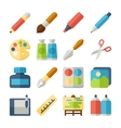 art flat icons set vector image vector image