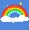 beautiful rainbow on clouds with star at night vector image vector image