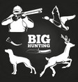 big hunting elements on blackboard vector image