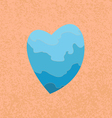 blue heart on an orange background vector image vector image