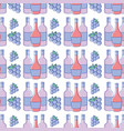 bottles of wine with bunch of grapes background vector image vector image