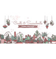 cacti and succulents boutique hand drawn banner vector image