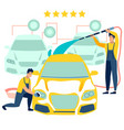 car wash employees work in minimalist style vector image