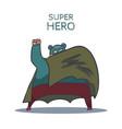 cartoon hand drawn super hero character with cloak vector image vector image