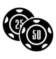 casino chip icon simple black style vector image