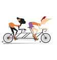 caucasian man and african woman rides a bike vector image vector image