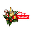 christmas tree gift and candle greeting card vector image vector image
