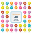 Contact us - set of round flat thin line web icons vector image