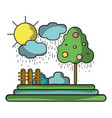 counds raining with tree and grid wool vector image vector image
