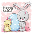 cute cartoon chicken rabbit and egg vector image vector image