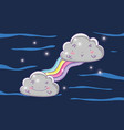 cute fluffy clouds with rainbow and stars vector image vector image