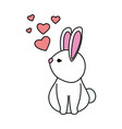 cute rabbit with hearts love vector image vector image
