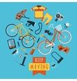 Cycling concept pictograms composition circle vector image vector image