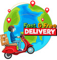 fast and free delivery logo with bike man vector image vector image