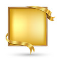 gold banner with gold ribbon vector image vector image