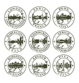 Grunge rubber stamps with London Paris Rome vector image