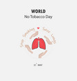hand and lung cute cartoon characterstop smoking vector image