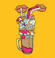hand drawn milk shake with straw donut vector image vector image