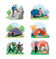 hiking scene set flat isolated vector image