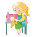 housewife sewing clothes with machine vector image
