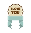 i love you decor blue ribbon label vector image
