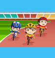 kids in a bicycle race vector image vector image