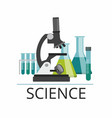 laboratory microscope and test tubes vector image vector image
