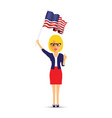 lady waving her usa flag vector image vector image